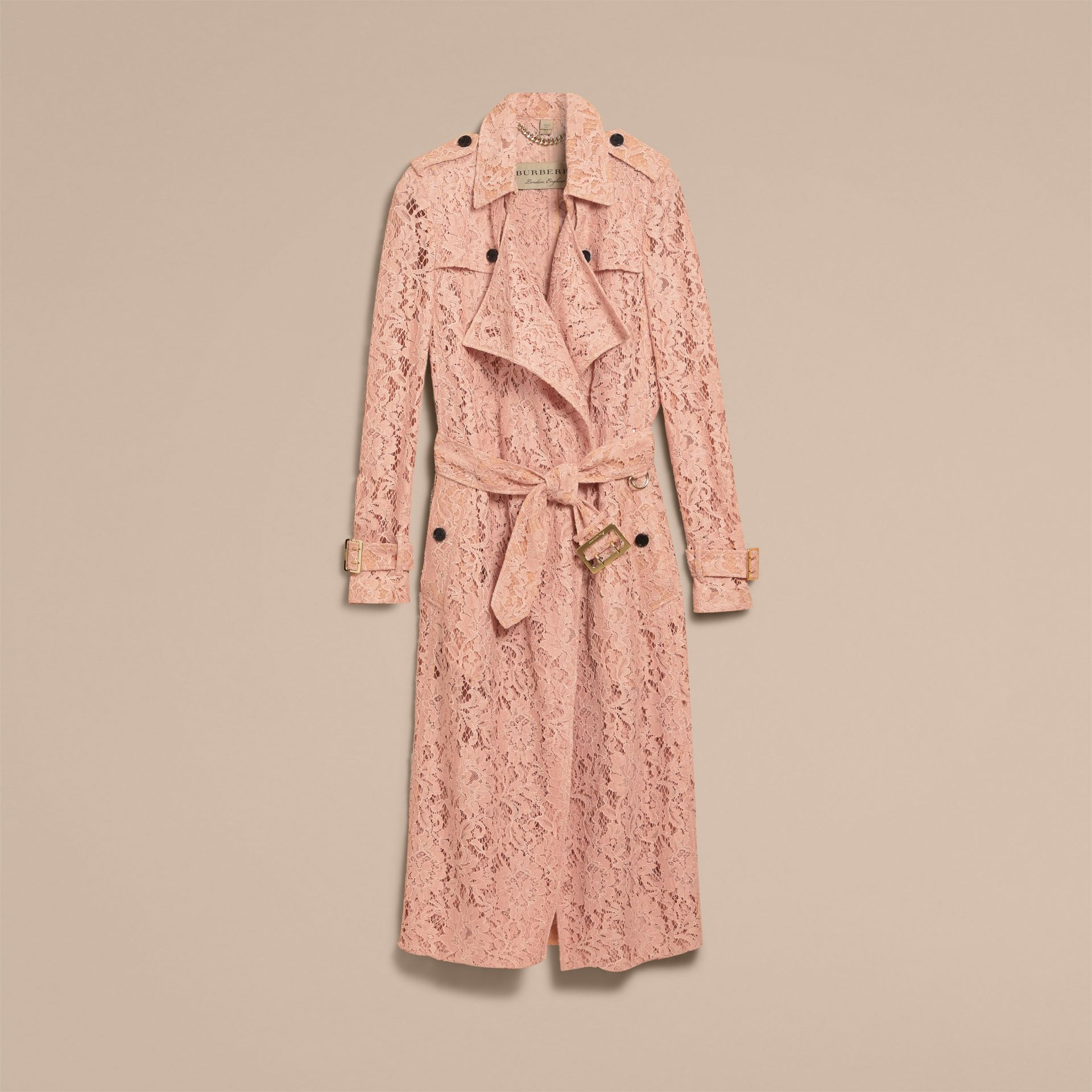 Macramé Lace Trench Coat Pale Pink - gallery image 3