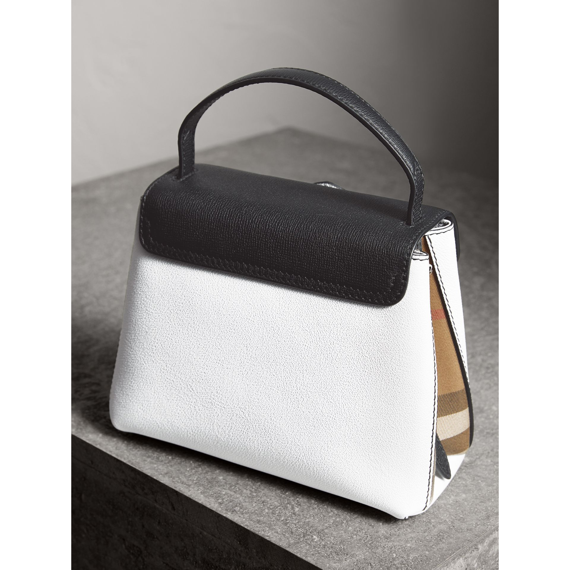 Small Two-tone Leather and House Check Tote in Chalk White/black - Women | Burberry Australia - gallery image 3