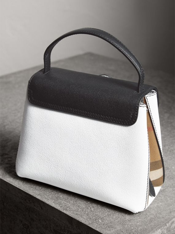 Small Two-tone Leather and House Check Tote in Chalk White/black - Women | Burberry - cell image 3