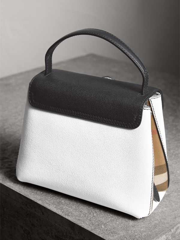 Small Two-tone Leather and House Check Tote in Chalk White/black - Women | Burberry Australia - cell image 3