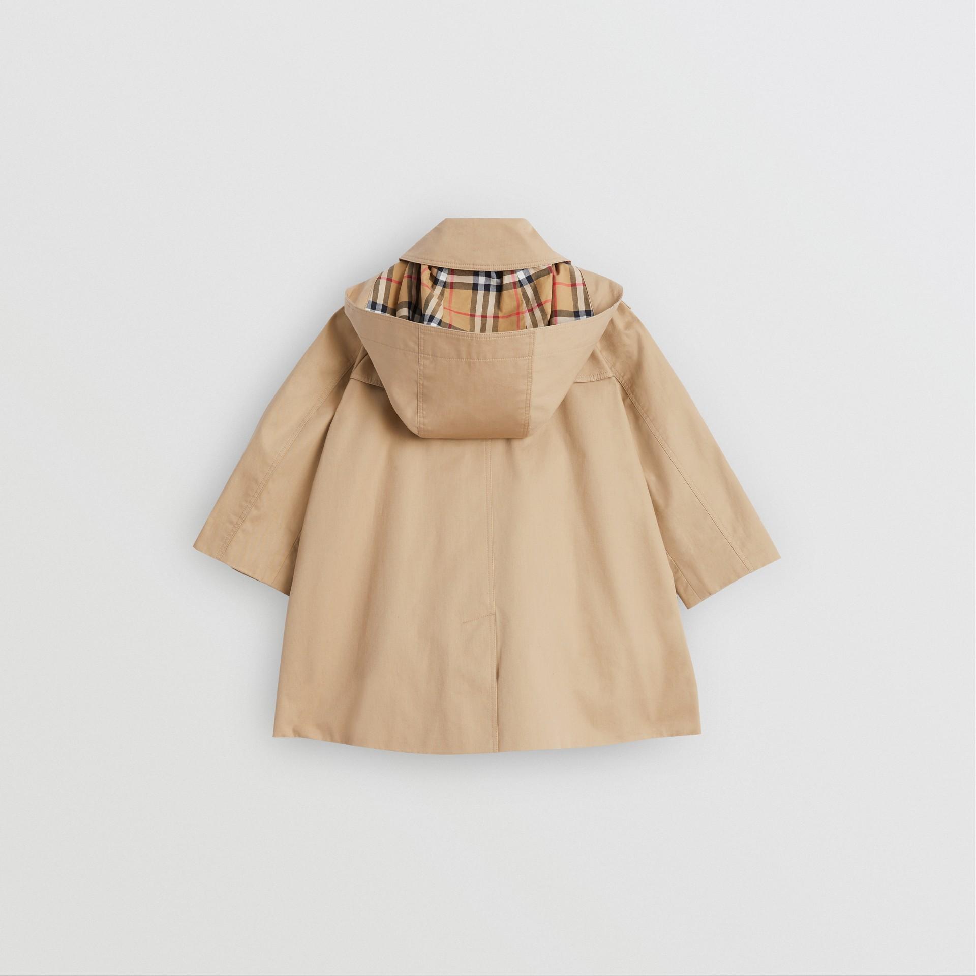 Detachable Hood Showerproof Cotton Swing Coat in Honey | Burberry Australia - gallery image 3