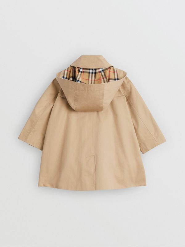 Detachable Hood Showerproof Cotton Swing Coat in Honey | Burberry - cell image 3