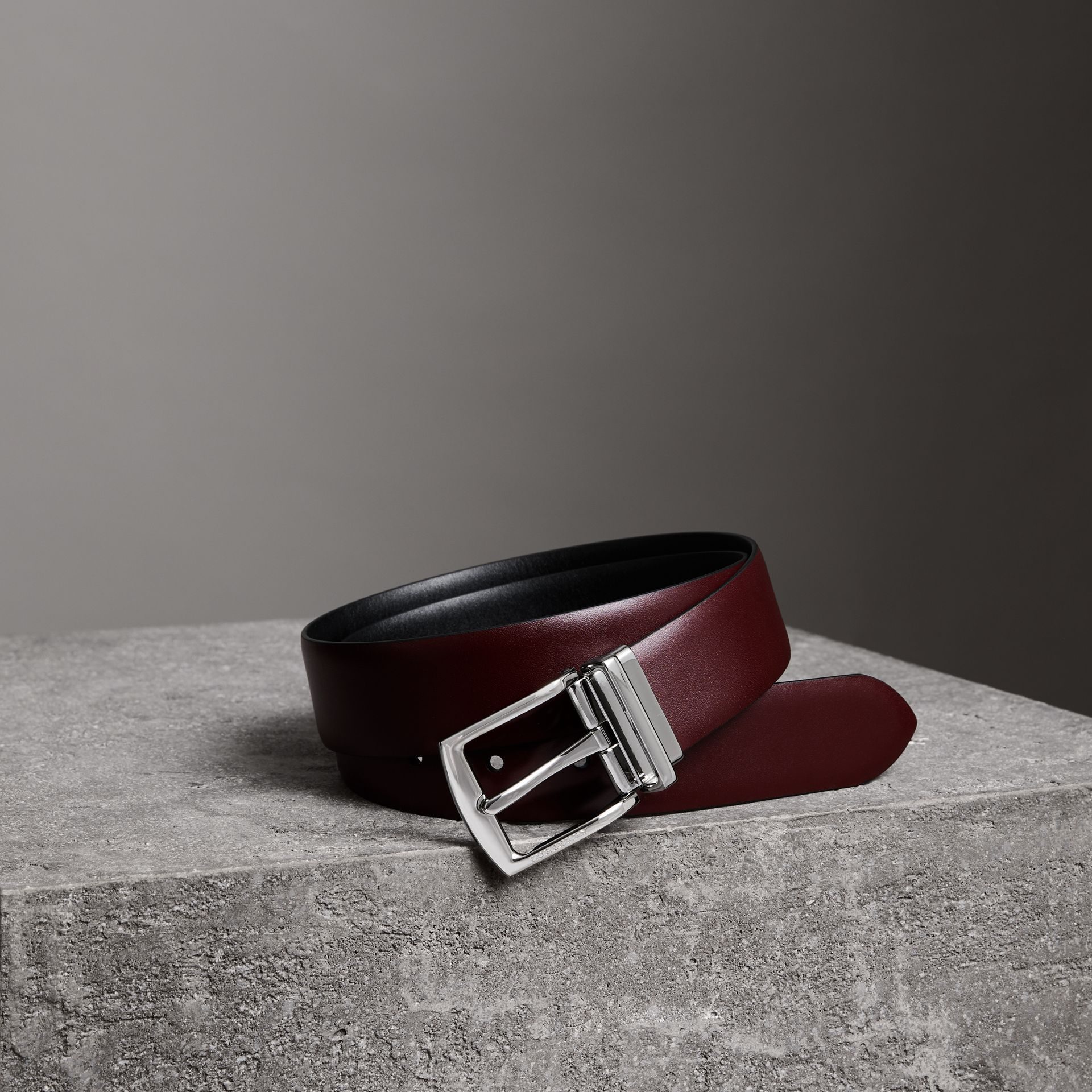 Reversible Leather Belt in Auburn - Men | Burberry - gallery image 0