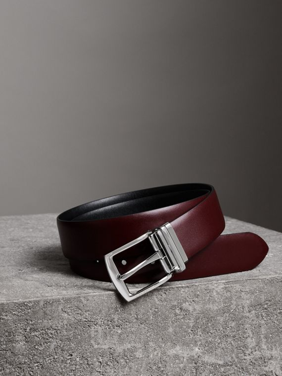 Reversible Leather Belt in Auburn