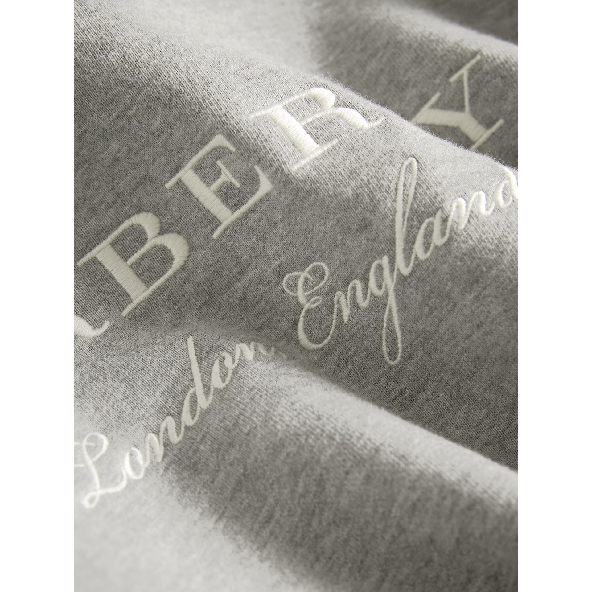 Embroidered Cotton Sweatshirt Dress in Grey Melange - Girl | Burberry United Kingdom - gallery image 2