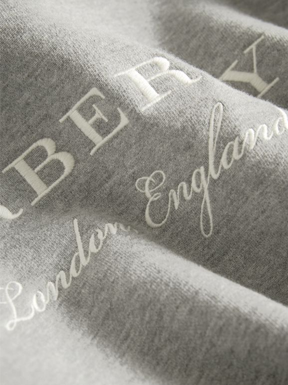 Embroidered Cotton Sweatshirt Dress in Grey Melange | Burberry - cell image 1