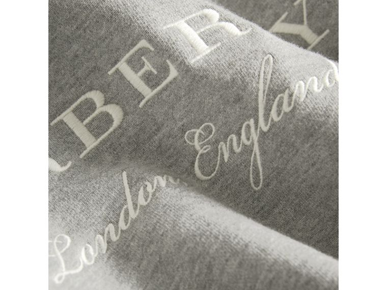 Embroidered Cotton Sweatshirt Dress in Grey Melange - Girl | Burberry - cell image 1