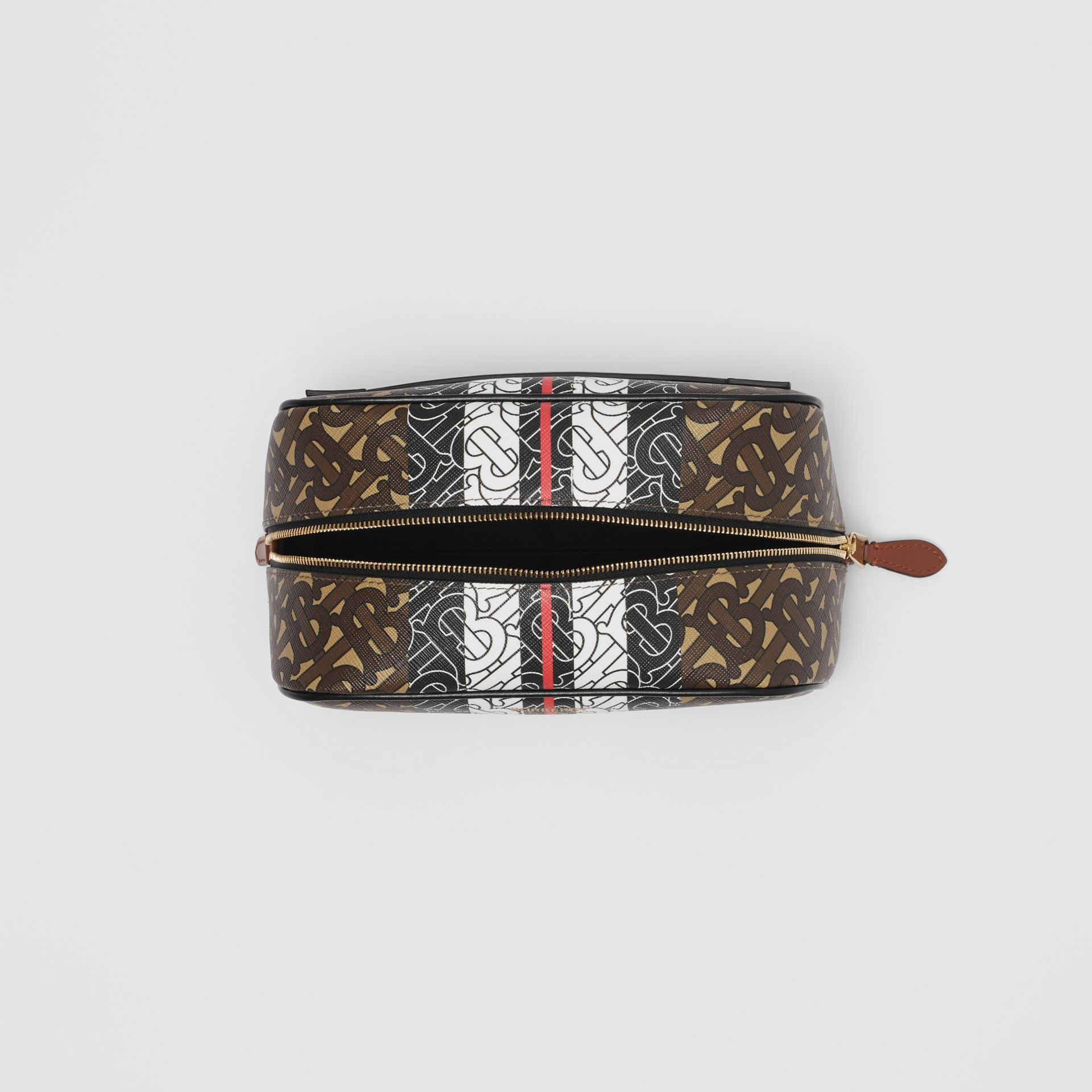 Monogram Stripe E-canvas Travel Pouch in Bridle Brown - Women | Burberry United Kingdom - gallery image 3