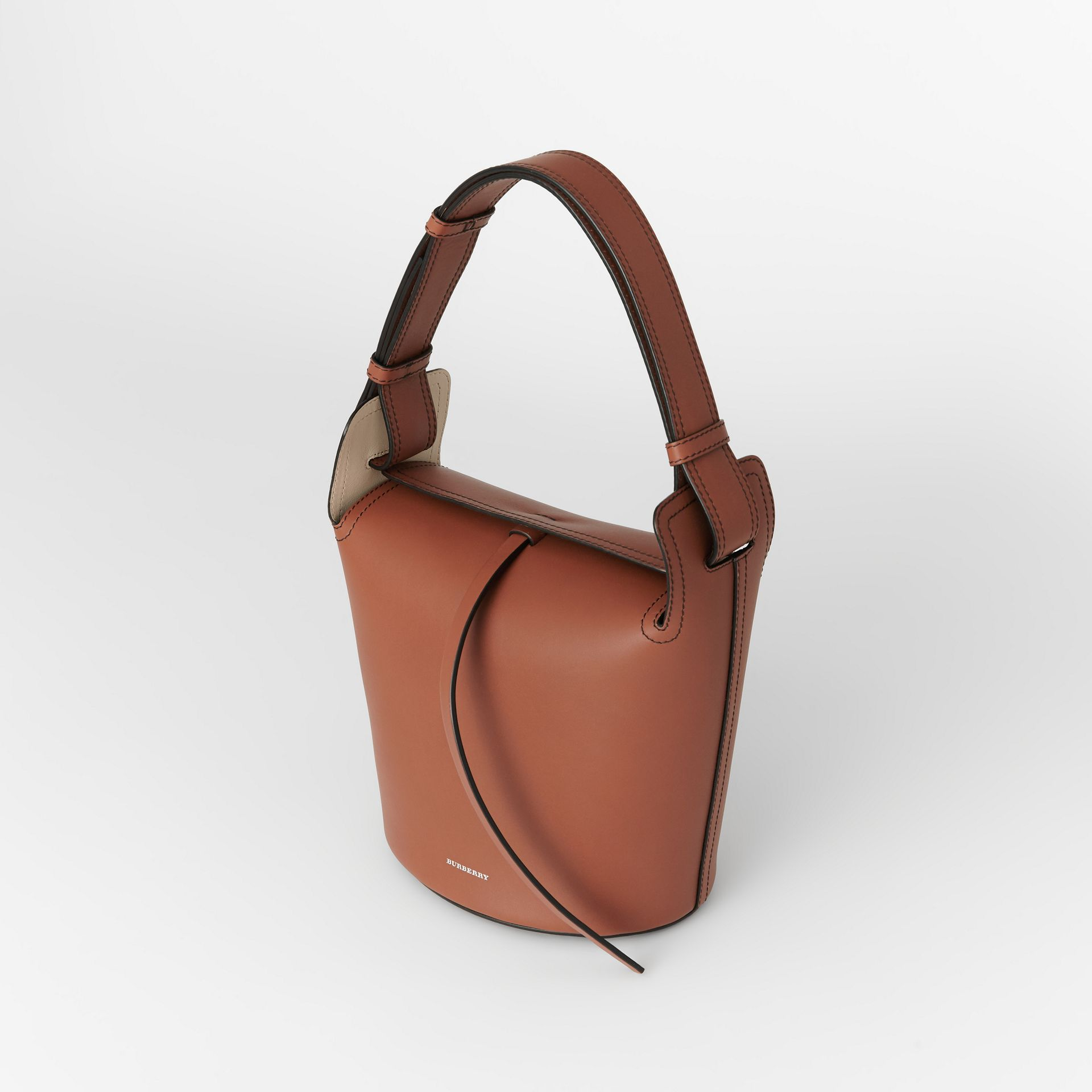 The Small Leather Bucket Bag in Taupe Brown - Women | Burberry United Kingdom - gallery image 2