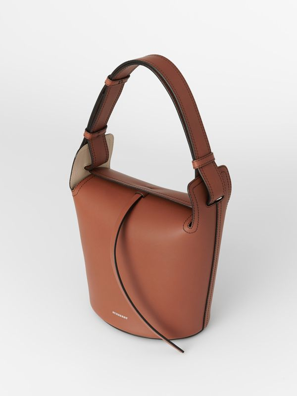 The Small Leather Bucket Bag in Taupe Brown - Women | Burberry - cell image 2
