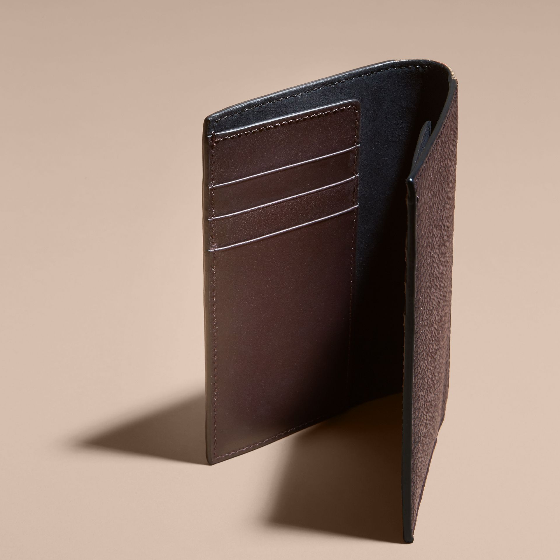 Leather and House Check Passport and Card Holder Wine - gallery image 5