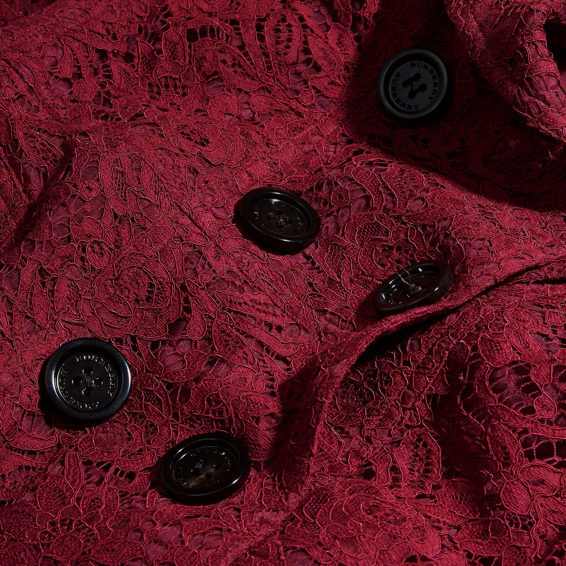 Dark crimson Italian Lace Scallop-hem Trench Coat - gallery image 2