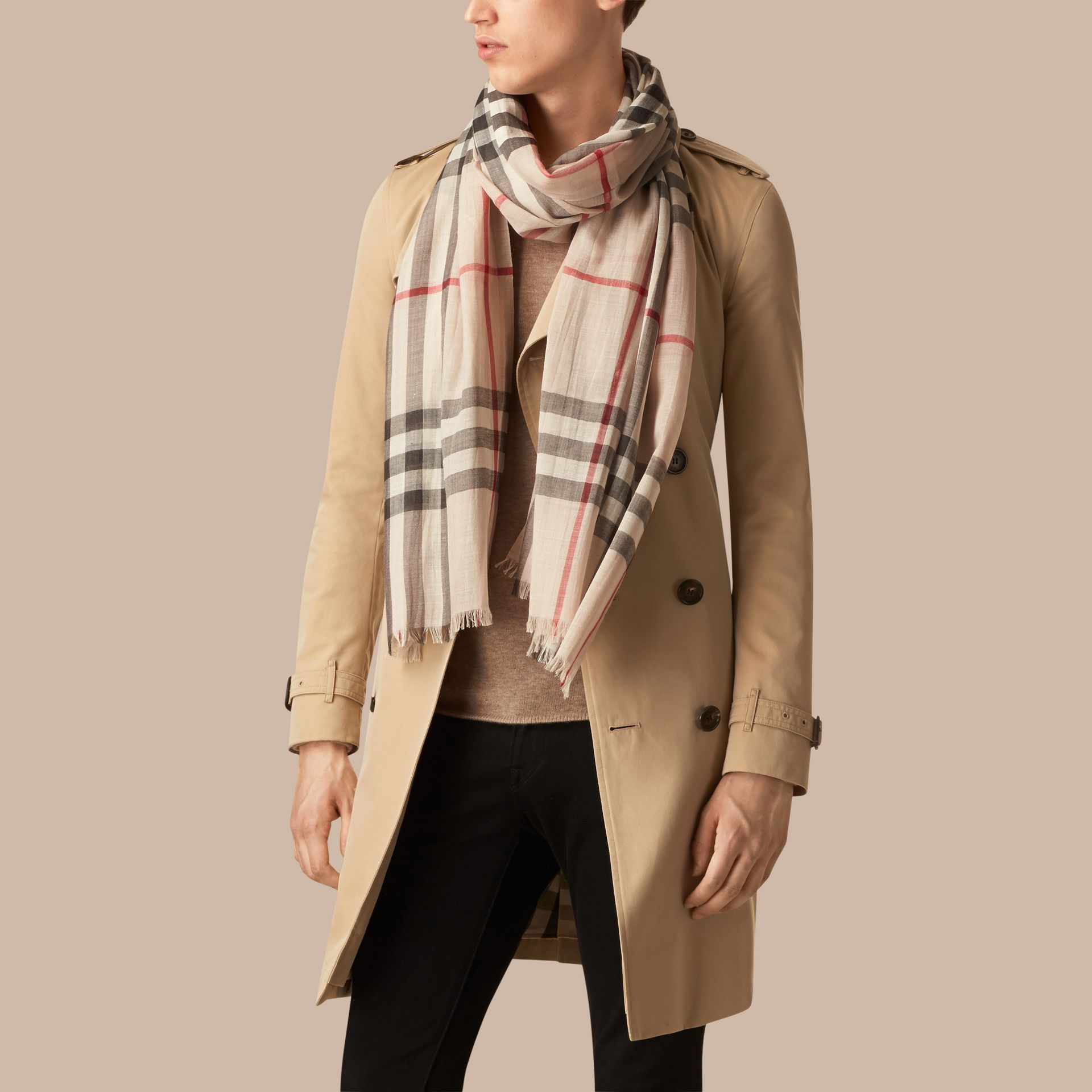 Lightweight Check Wool and Silk Scarf in Stone - gallery image 4