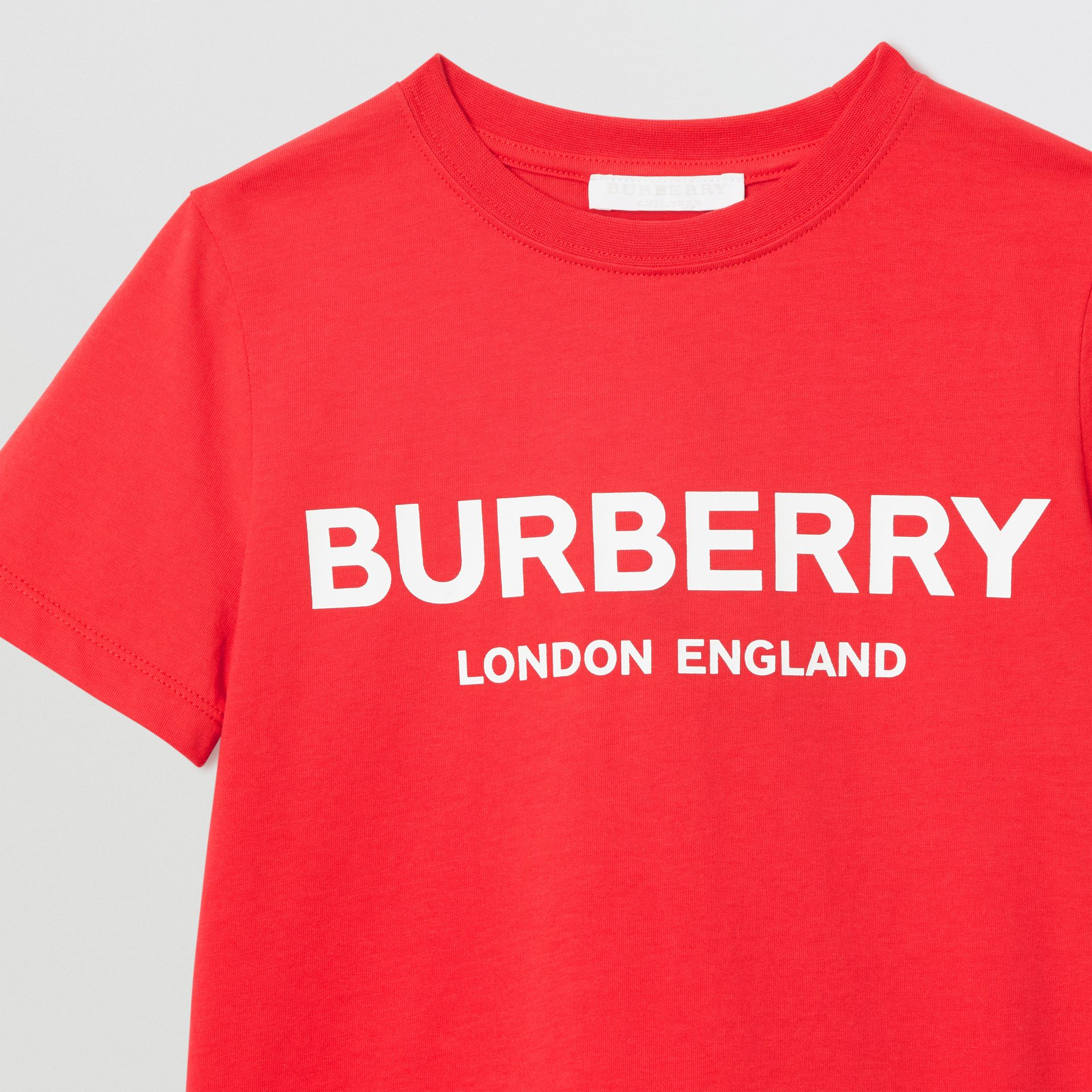 Logo Print Cotton T-shirt in Bright Red | Burberry - gallery image 5