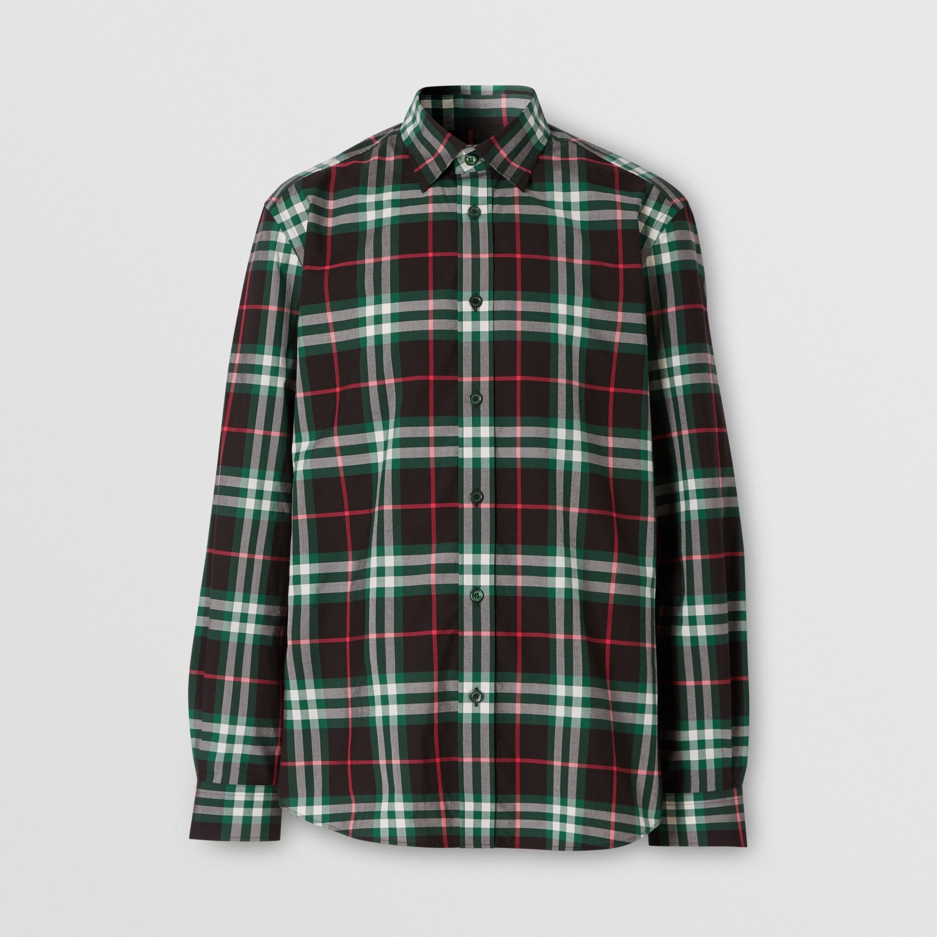 Check Cotton Poplin Shirt in Viridian Green - Men | Burberry - gallery image 3