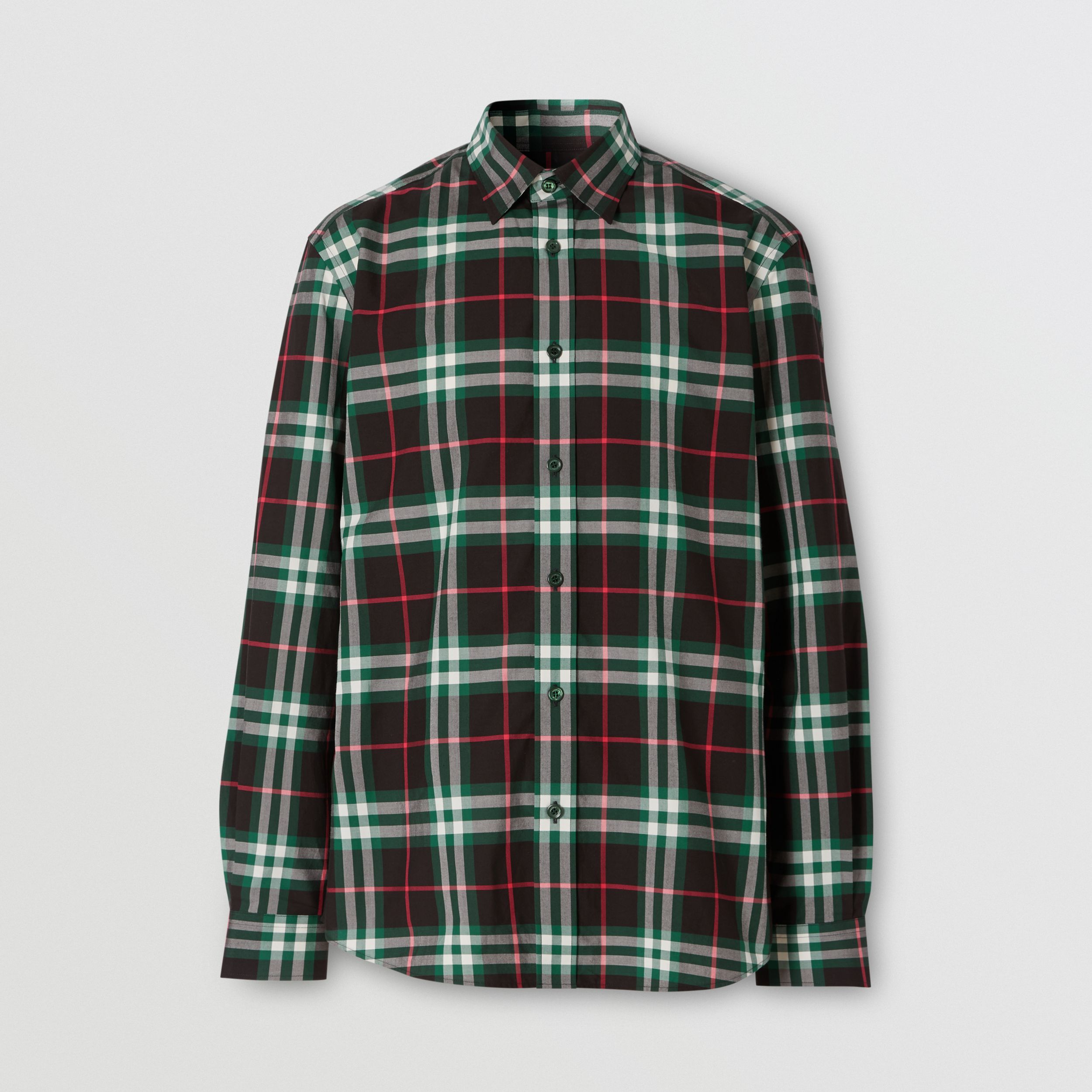 Check Cotton Poplin Shirt in Viridian Green - Men | Burberry - 4