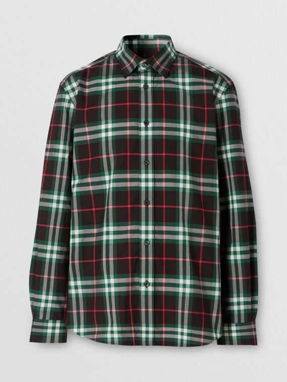 Check Cotton Poplin Shirt in Viridian Green