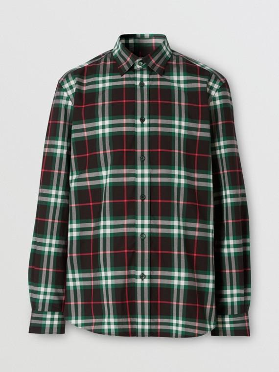 Camisa de popeline de algodão com estampa xadrez (Verde Viridiano)