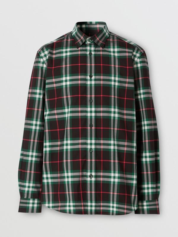 Check Cotton Poplin Shirt in Viridian Green - Men | Burberry - cell image 3
