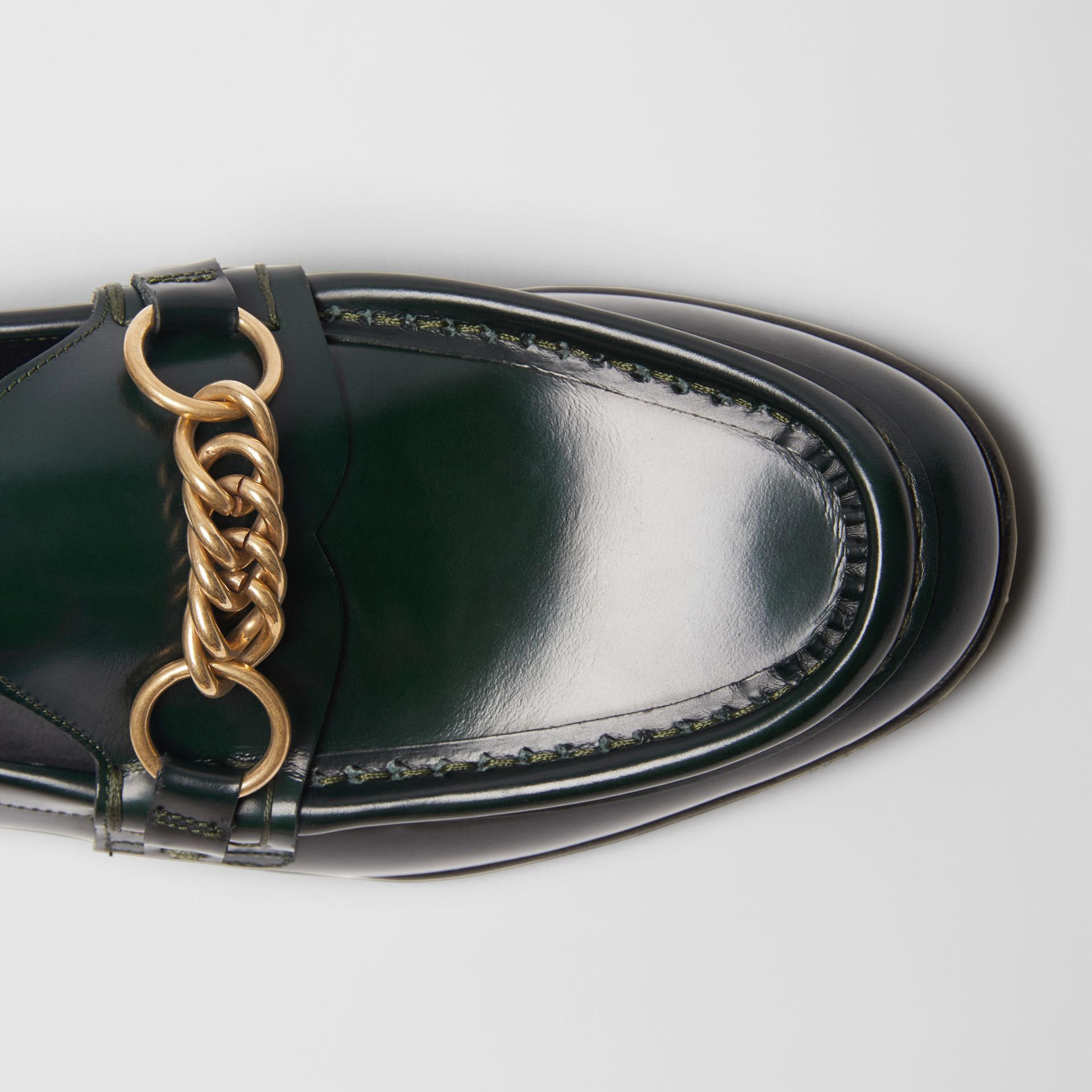 The Leather Link Loafer in Deep Green - Women | Burberry United States - gallery image 1