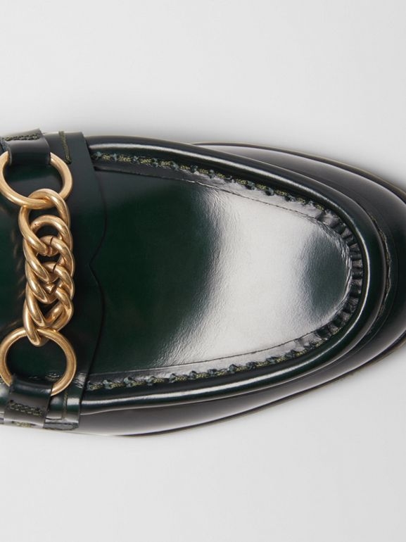 The Leather Link Loafer in Deep Green - Women | Burberry United States - cell image 1