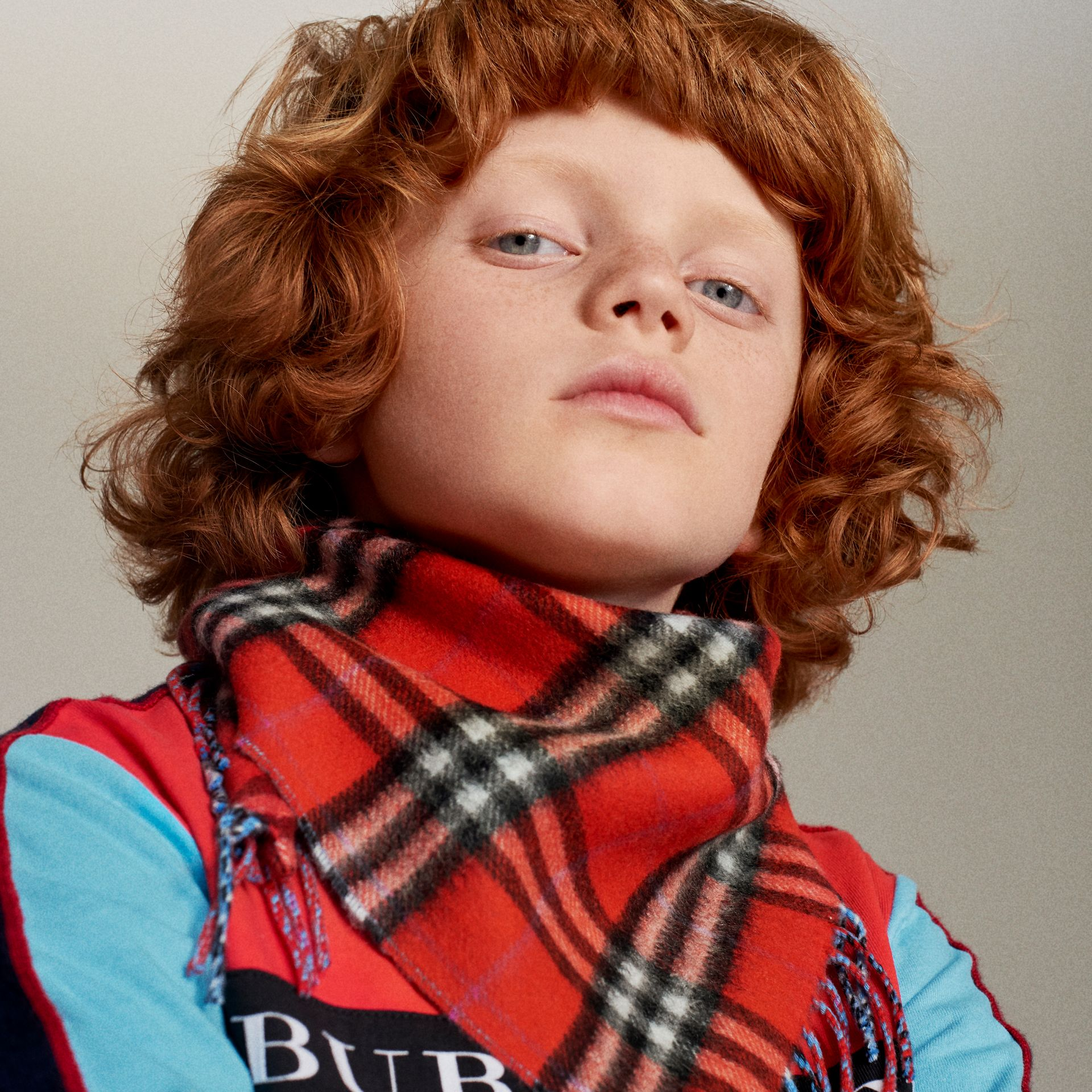 The Mini Burberry Bandana in Check Cashmere in Bright Red | Burberry Singapore - gallery image 1