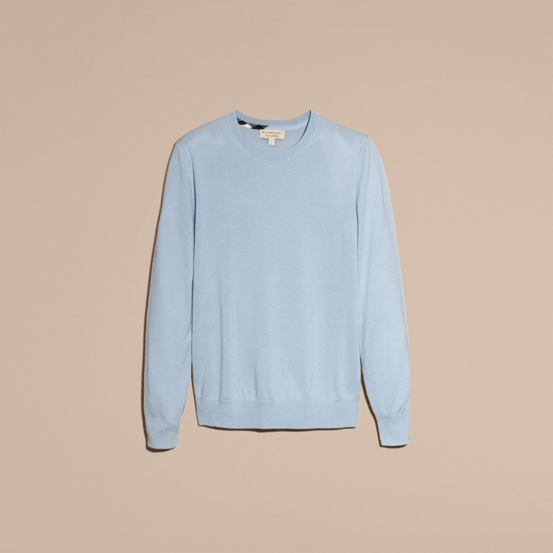 Lightweight Crew Neck Cashmere Sweater with Check Trim in Light Blue - Men | Burberry - gallery image 4