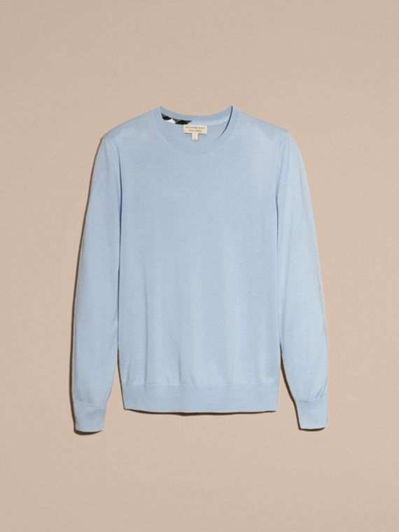 Lightweight Crew Neck Cashmere Sweater with Check Trim in Light Blue - Men | Burberry - cell image 3