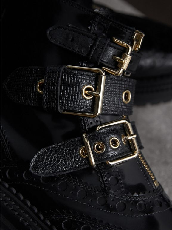 Buckled Leather Brogue Ankle Boots in Black | Burberry United States - cell image 1