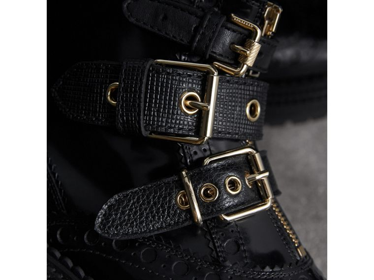 Buckled Leather Brogue Ankle Boots in Black - Women | Burberry Australia - cell image 1