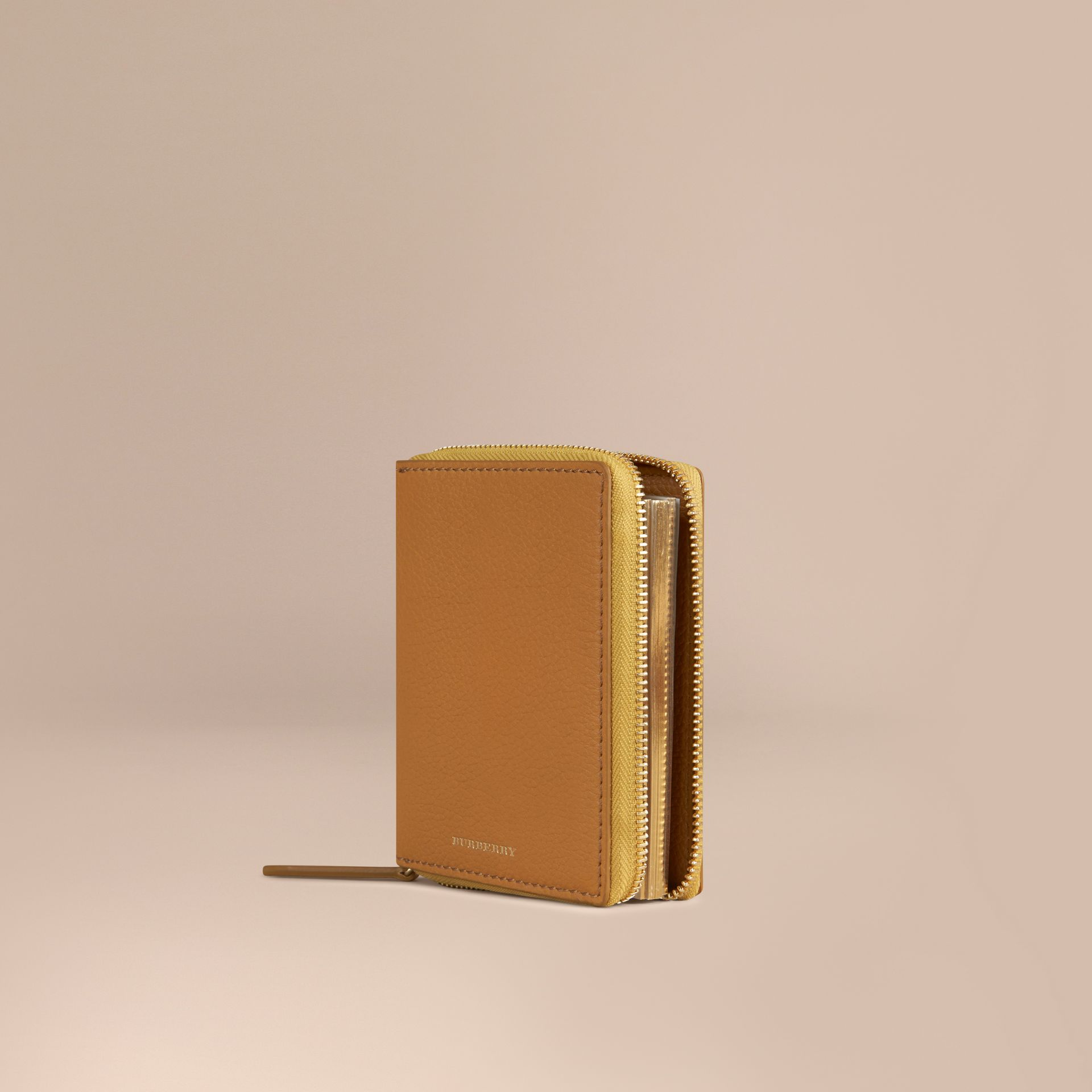 Ziparound Grainy Leather Mini Notebook Ochre Yellow - gallery image 1