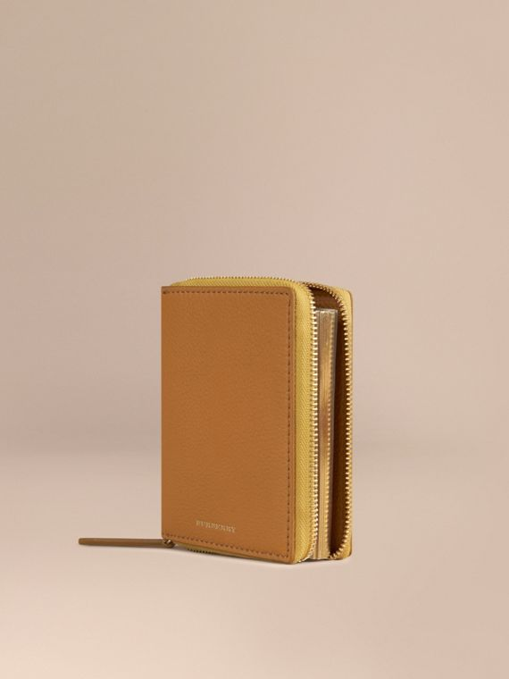 Ziparound Grainy Leather Mini Notebook in Ochre Yellow | Burberry