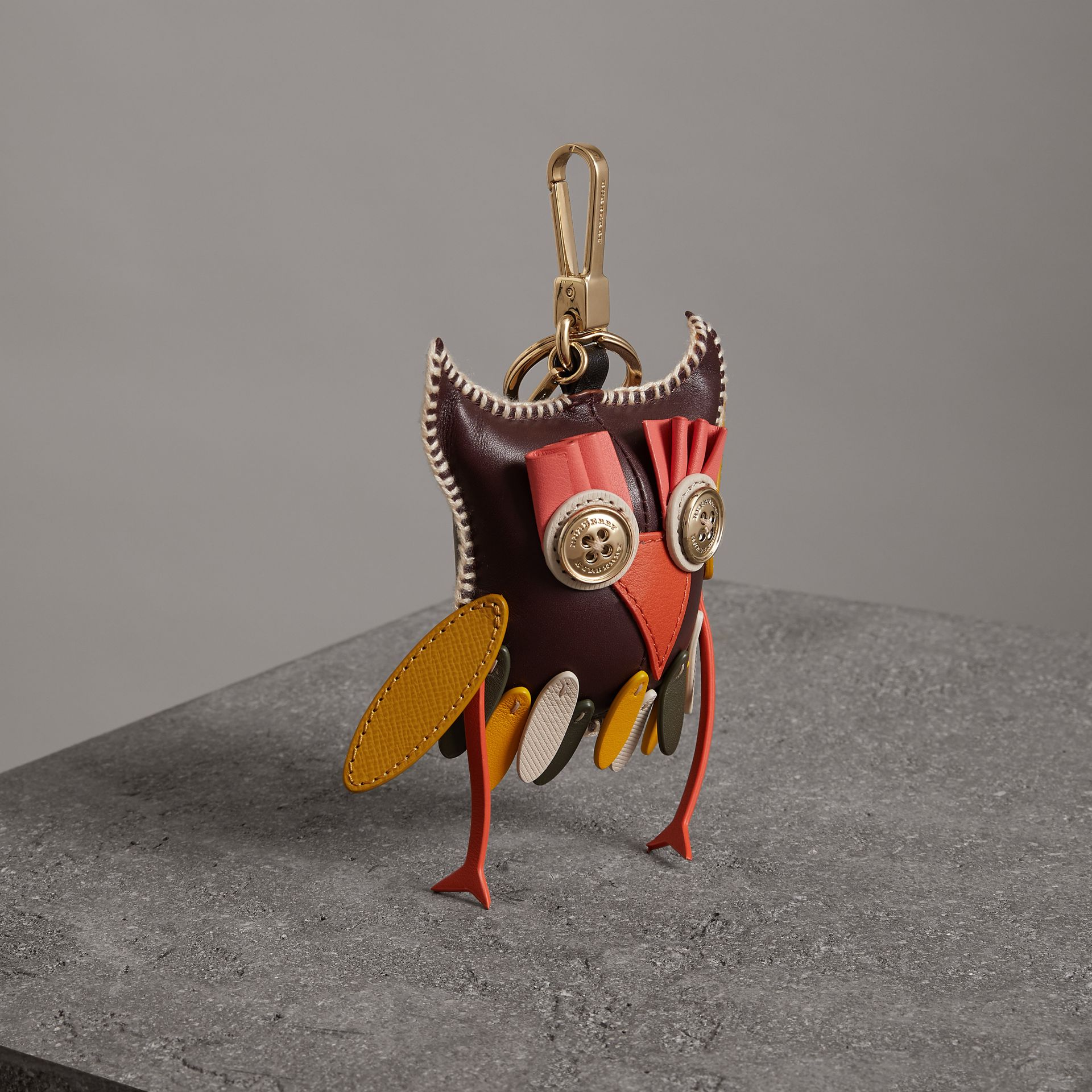 Mavis The Owl Leather Charm in Deep Claret - Women | Burberry - gallery image 0