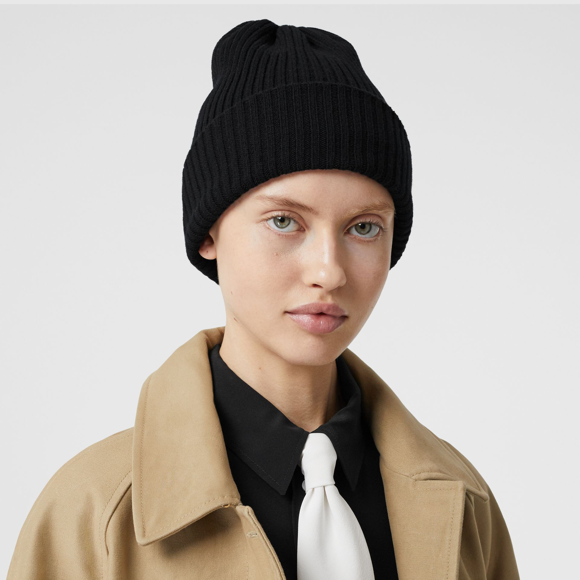 Rib Knit Wool Beanie in Black | Burberry - gallery image 2