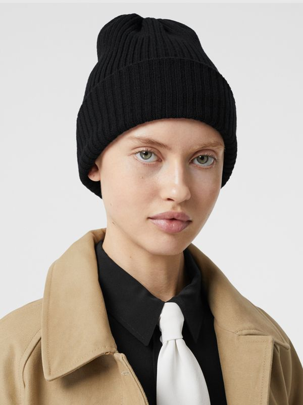 Rib Knit Wool Beanie in Black | Burberry - cell image 2