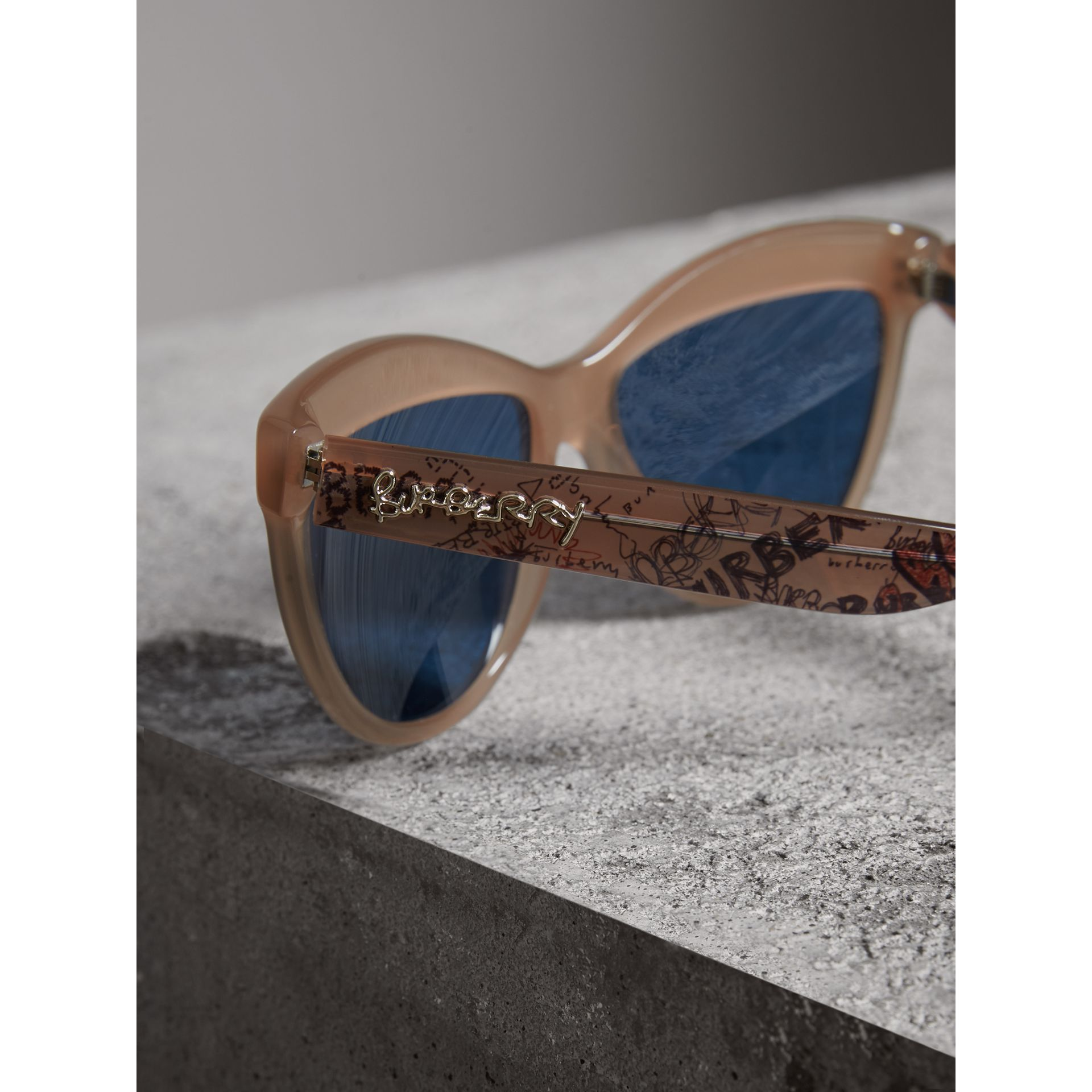 Doodle Cat-eye Frame Sunglasses in Trench - Women | Burberry - gallery image 1