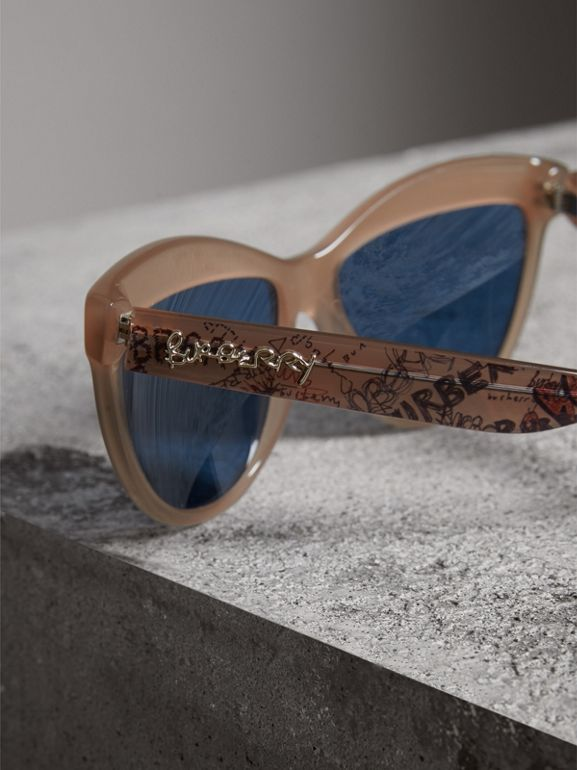 Doodle Cat-eye Frame Sunglasses in Trench - Women | Burberry Hong Kong - cell image 1