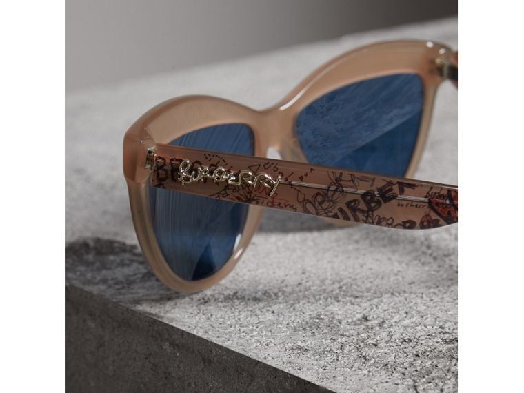 Doodle Cat-eye Frame Sunglasses in Trench - Women | Burberry - cell image 1
