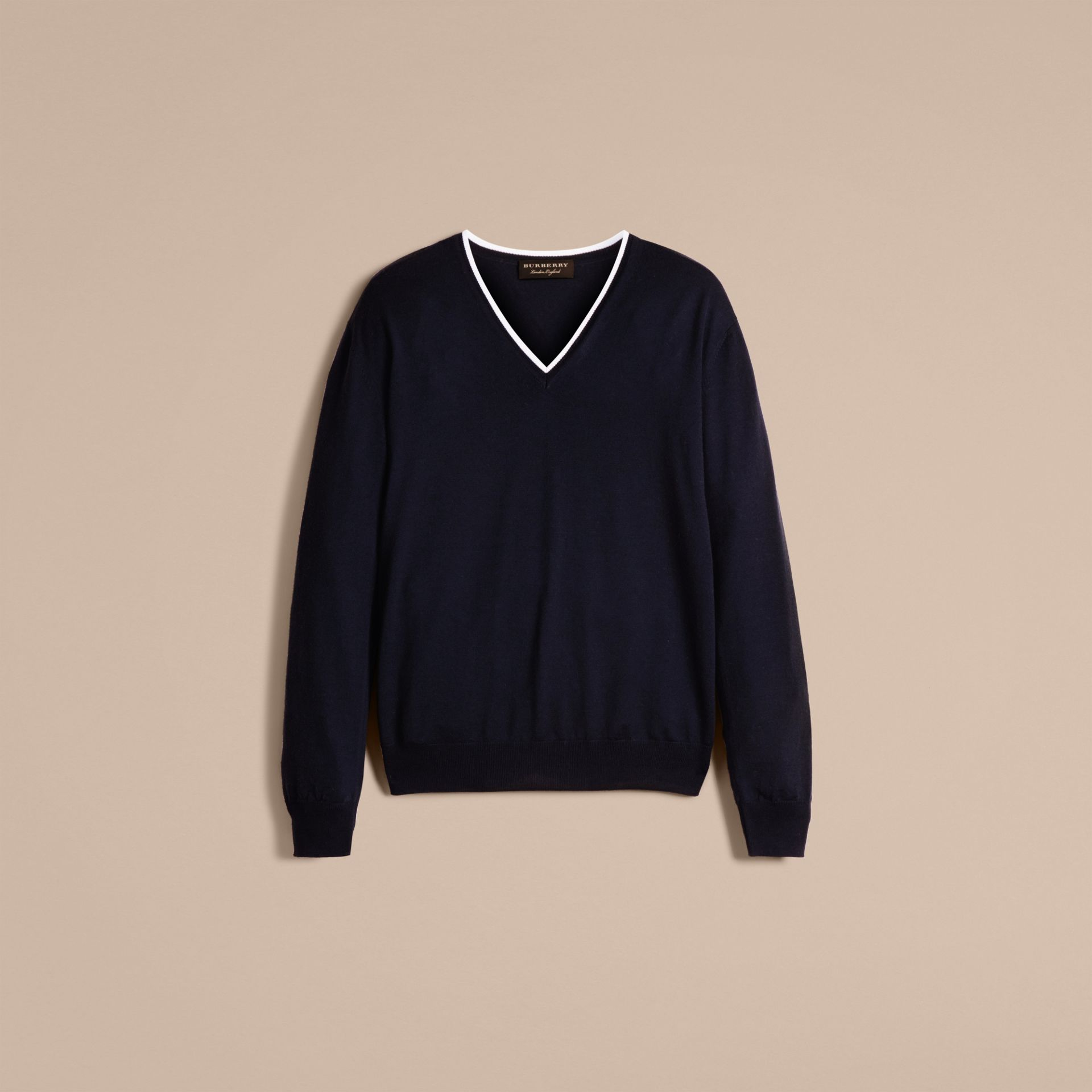 Navy/white Contrast Trim Wool V-neck Sweater - gallery image 4