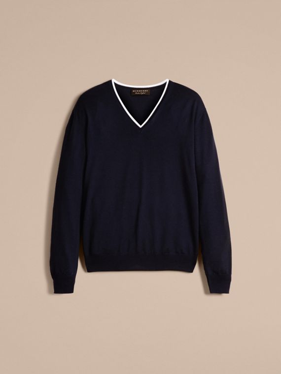 Navy/white Contrast Trim Wool V-neck Sweater - cell image 3