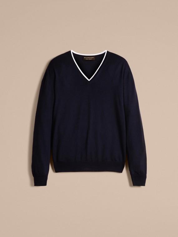 Темно-синий / белый Шерстяной свитер с контрастной отделкой - cell image 3
