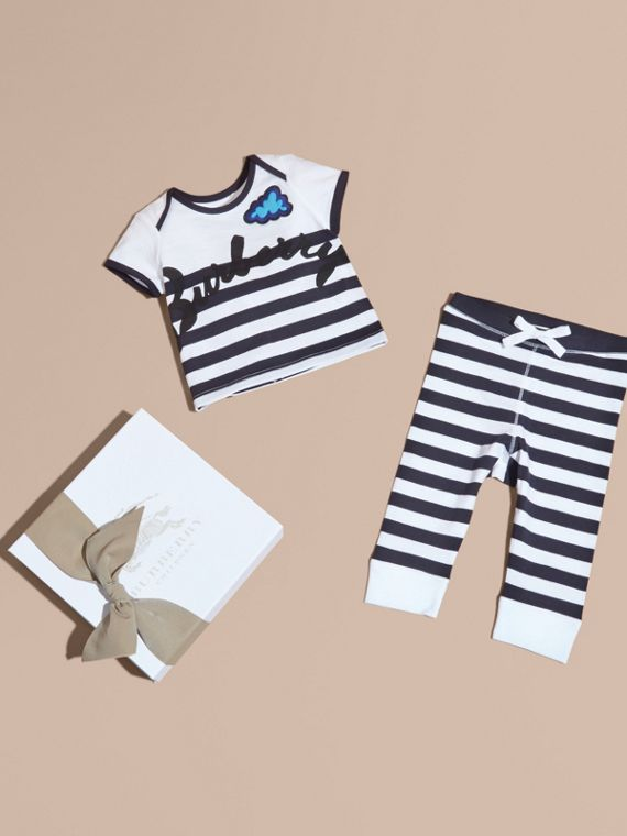 Striped Cotton Two-piece Baby Gift Set with Appliqué Navy