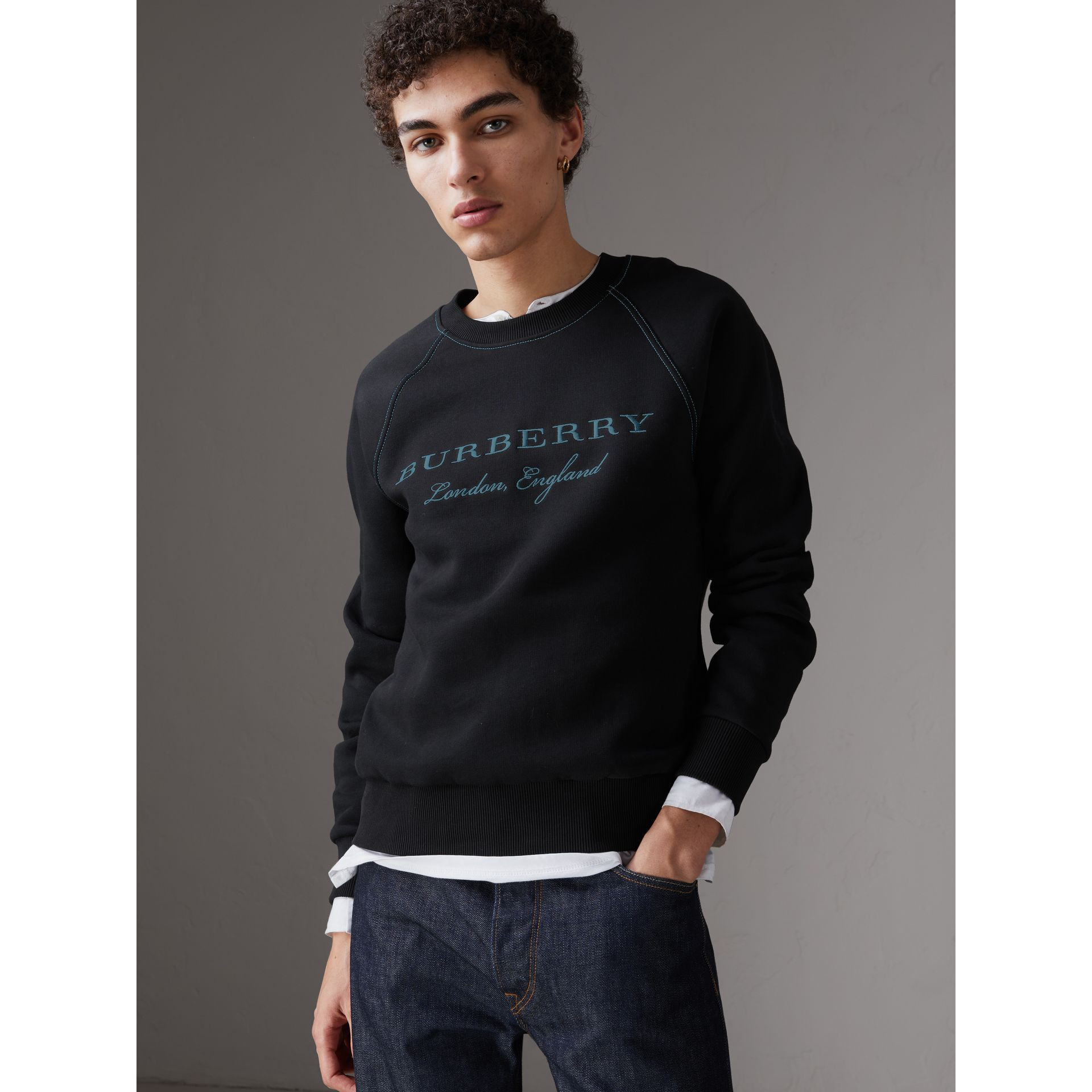 Embroidered Jersey Sweatshirt in Black - Men | Burberry United Kingdom - gallery image 0