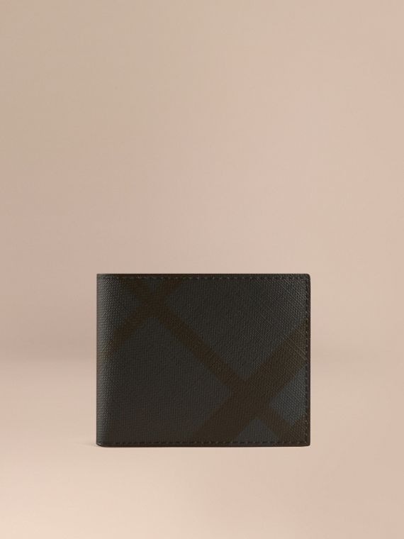 London Check and Leather Bifold Wallet Navy/black