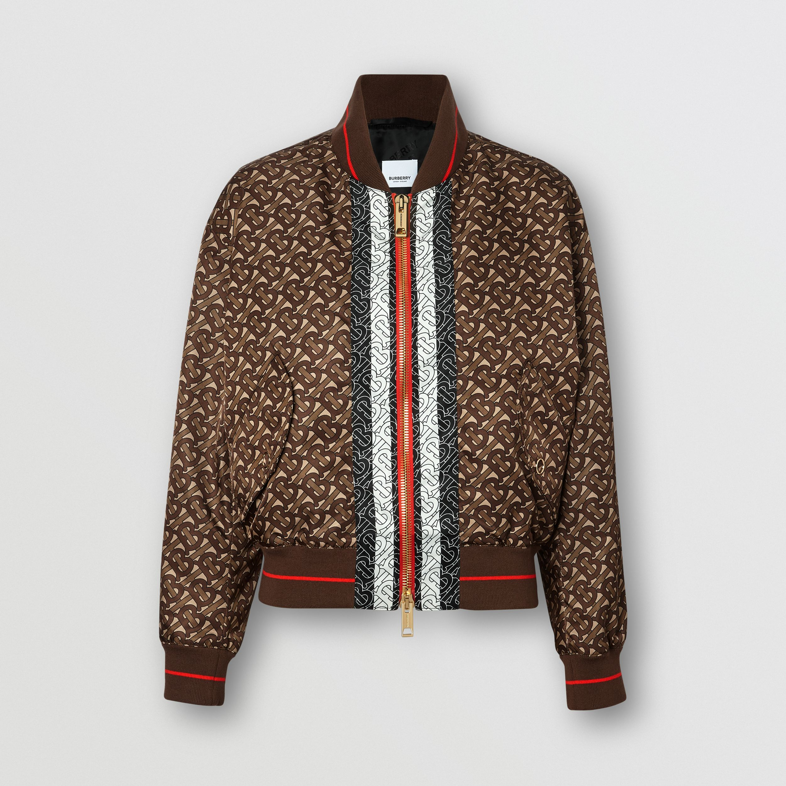 Monogram Stripe Print Nylon Bomber Jacket in Bridle Brown - Women | Burberry - 4