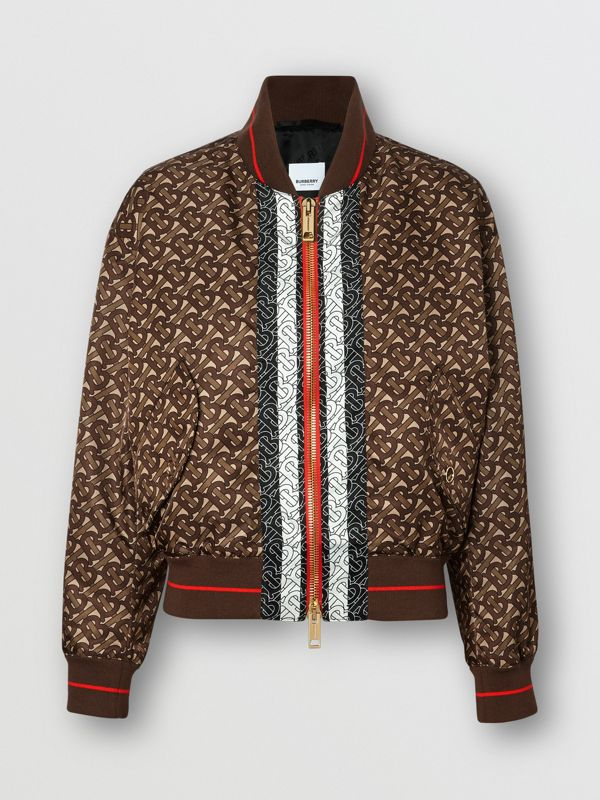 Monogram Stripe Print Nylon Bomber Jacket in Bridle Brown - Women | Burberry - cell image 3