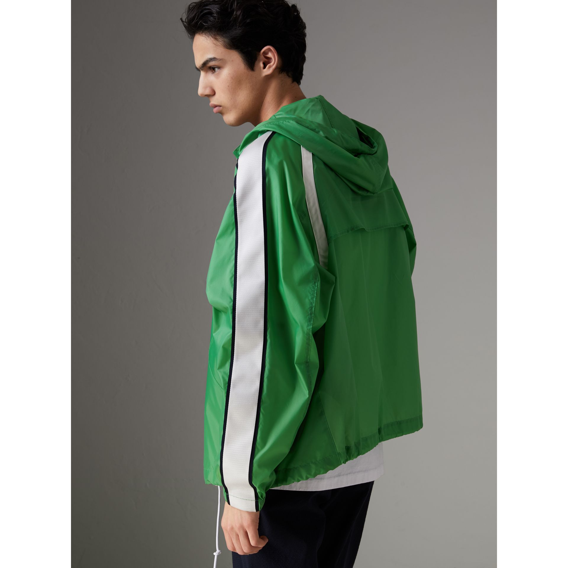 Stripe Detail Showerproof Hooded Jacket in Bright Pigment Green - Men | Burberry United States - gallery image 2
