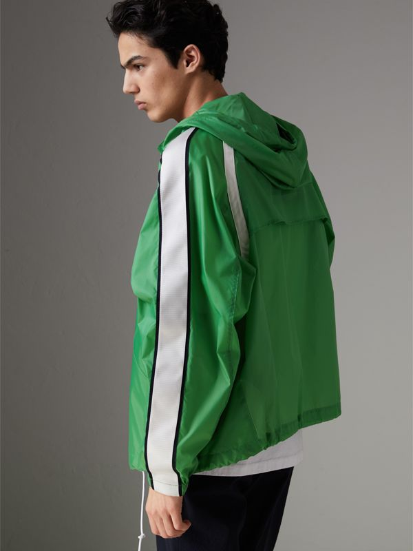 Stripe Detail Showerproof Hooded Jacket in Bright Pigment Green - Men | Burberry United Kingdom - cell image 2