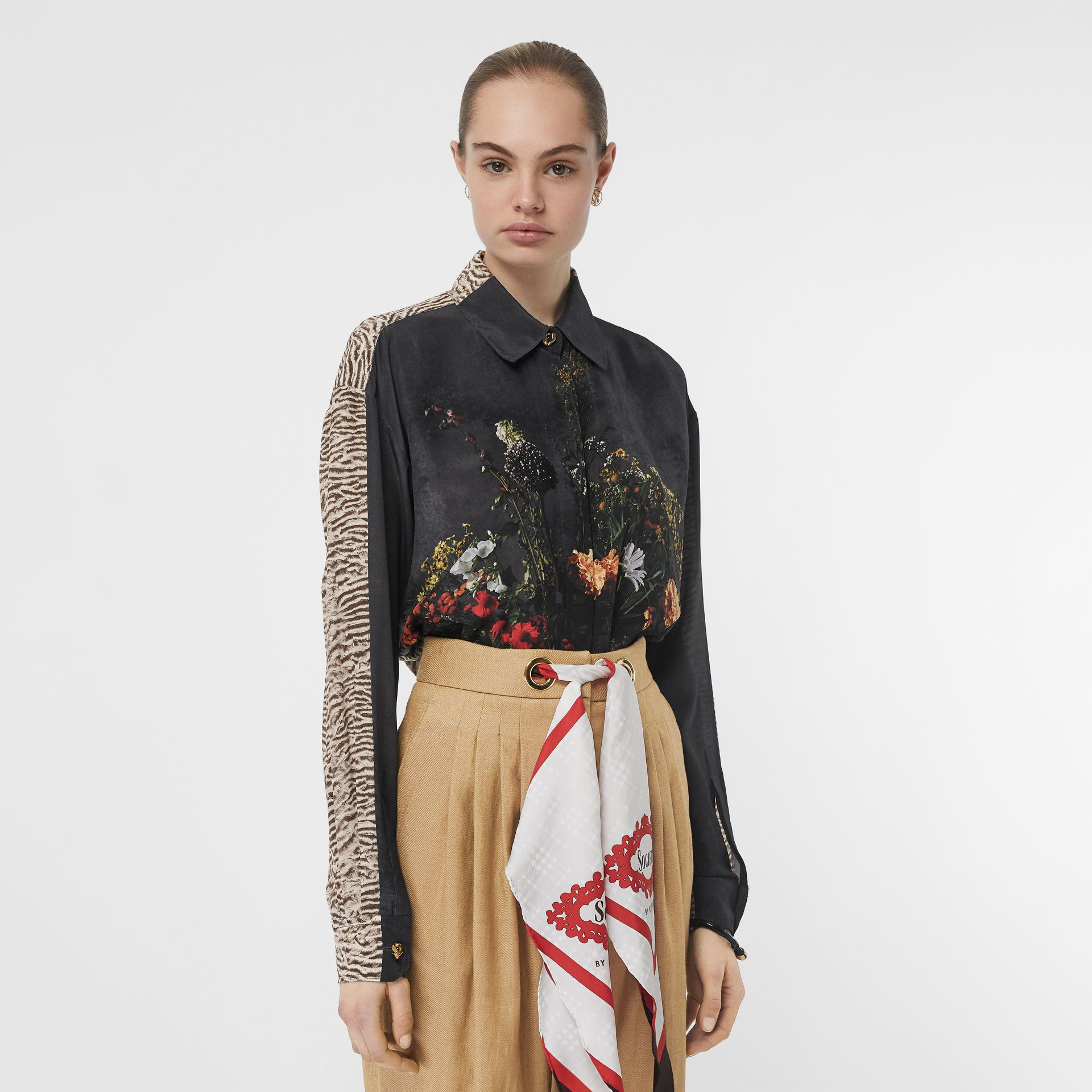 Floral and Tiger Print Silk Oversized Shirt in Black - Women | Burberry Australia - gallery image 6