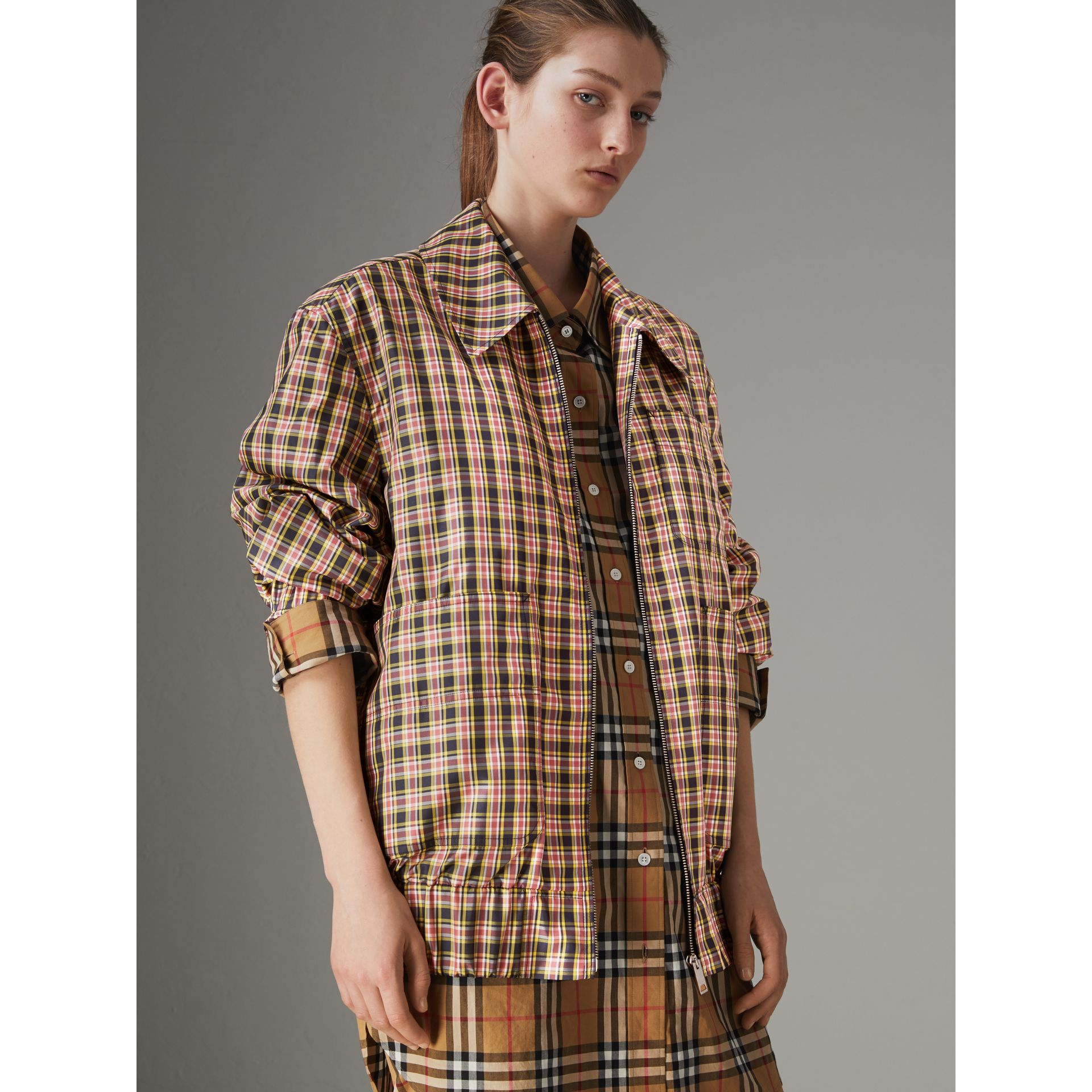 Lightweight Check Harrington Jacket in Bright Coral Pink - Women | Burberry - gallery image 4